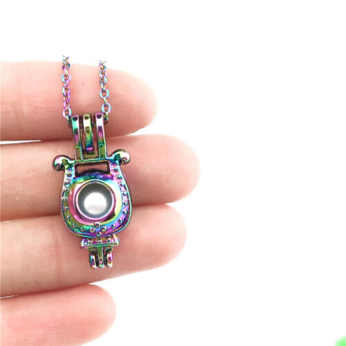 """C535 Multi Color Beads Cage letter U Horseshoe Lucky Symbol Necklace 18/"""""""