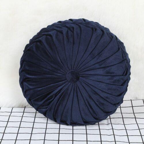 Velvet Pleated Round Pumpkin 35CM Pillow Couch Chair Floor Cushion Decor Home