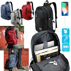 Anti-theft-Mens-Womens-USB-Charging-Backpack-Laptop-Notebook-Travel-School-Bag