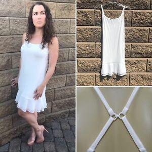 8ed0ee07dc0 Image is loading White-Chiffon-Dress-Extender-Slip-Dress-Layered-Sleeveless-