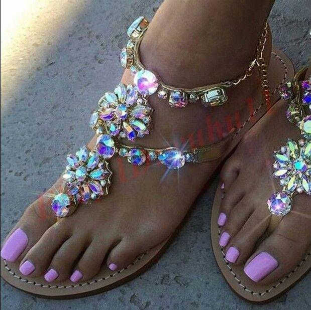 Hot Women's RHINESTONES Strap Flip Flop Strap Flat Beach Sandals shoes US4-14