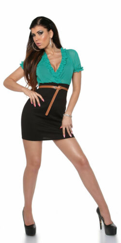 KOUCLA BLACK AND GREEN BELTED MINI DRESS IN SECRETARY LOOK SIZE UK 8 10 12 S M L