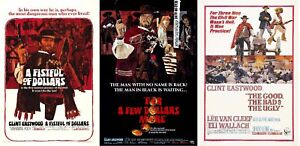 VINTAGE CLINT EASTWOOD DOLLARS TRILOGY Movie Posters Film Cinema Wall Decor A4