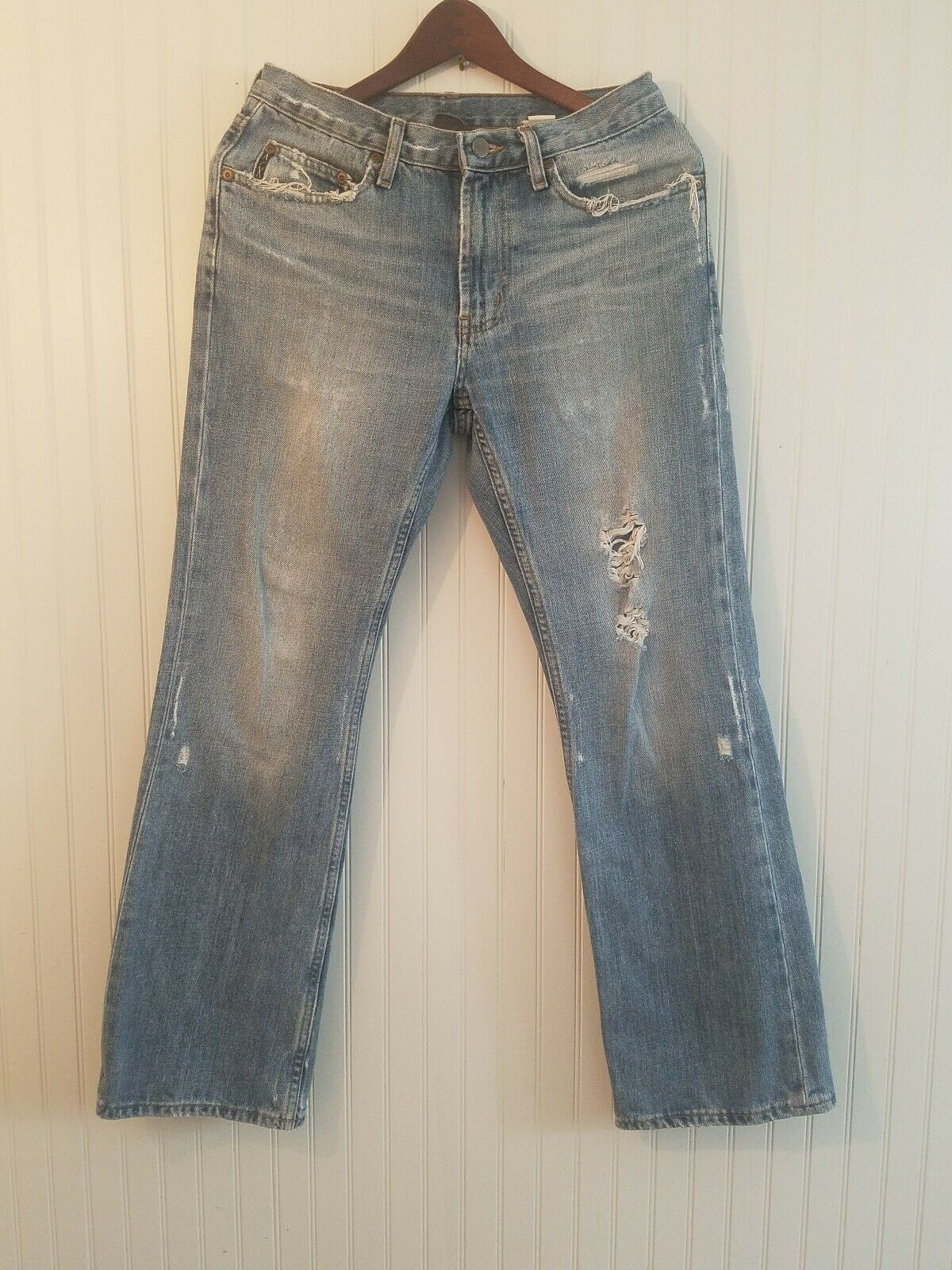 Armani Exchange A X Boot cut Distressed Jeans J101 29 x 30 ripped holes worn (E