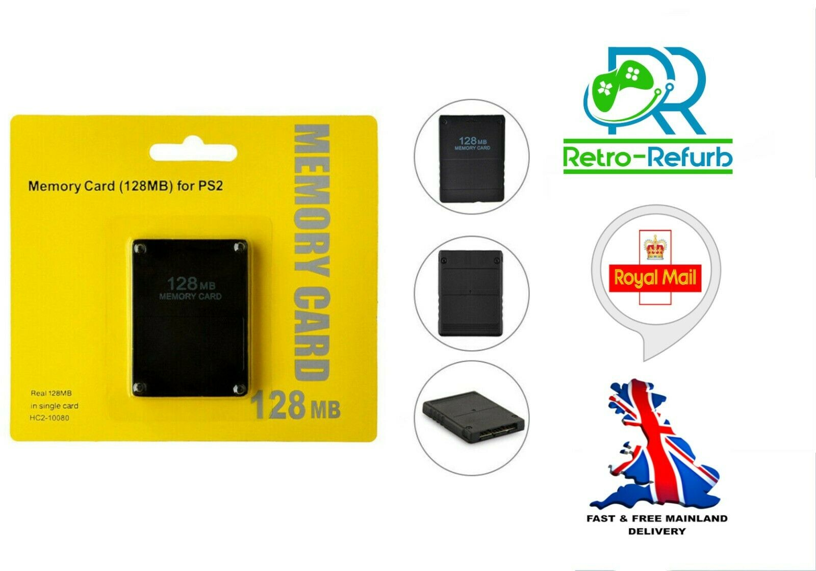 128MB Memory Card For Sony Playstation 2 PS2 Memory Data Stick - UK SELLER