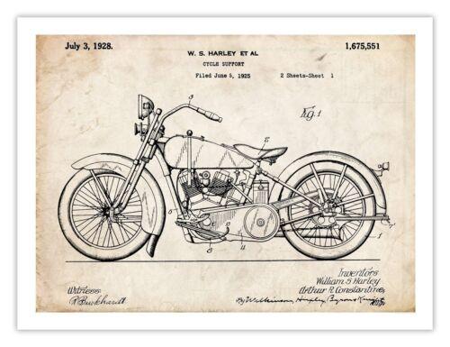 1928 Harley Davidson Motorcycle Sketch