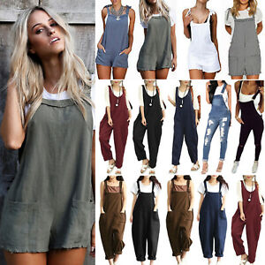 f1fa528a9a32 Image is loading Women-Casual-Dungarees-Jumpsuit-Playsuit-Loose-Trousers- Overalls-