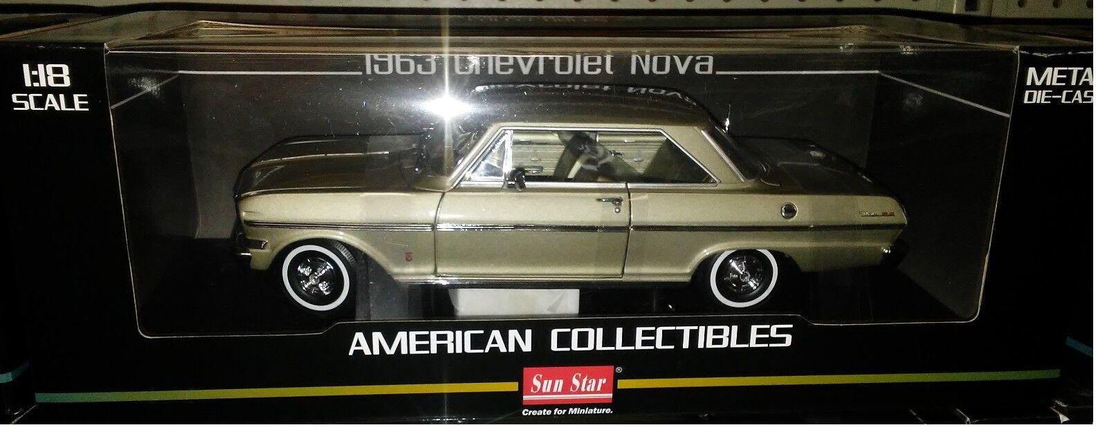 1963 Chevy Nova Hard Top Diecast Diecast Diecast Car 10 pulgadas Sun Star 1 18 American SS3967 oro 672b03