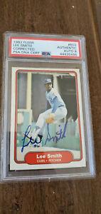 1982 FLEER SIGNED AUTO ROOKIE CARD LEE SMITH CUBS CARDINALS HOF # 603 PSA DNA