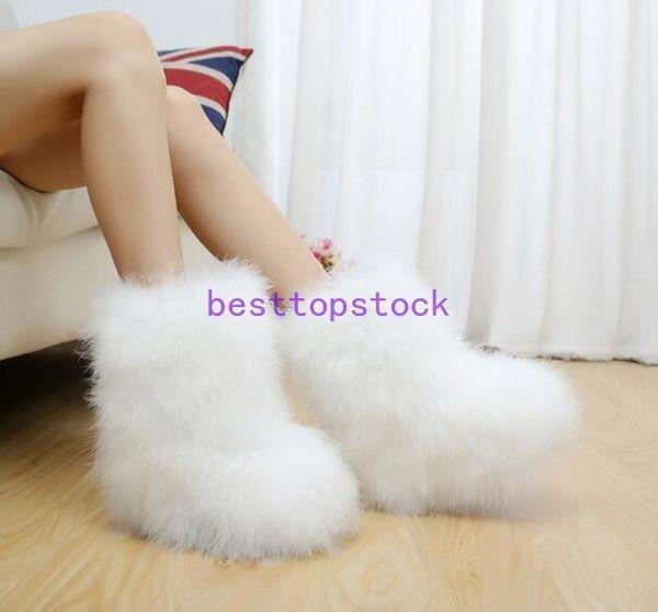 Women Winter Boots Snow Ostrich fur Eskimo Hair Fluffy Boots Sexy Furry Boots sz