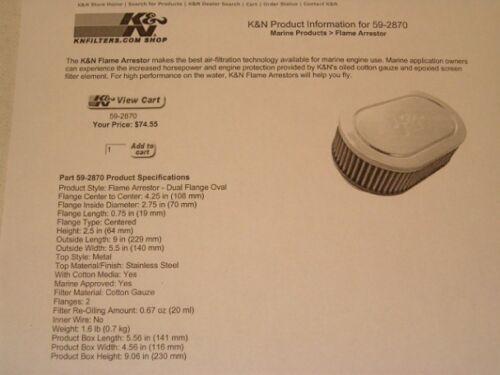 "9/"" x 5.5/"" K/&N Flame Arrestor #59-2870 for Marine Applications $74 NEW!"