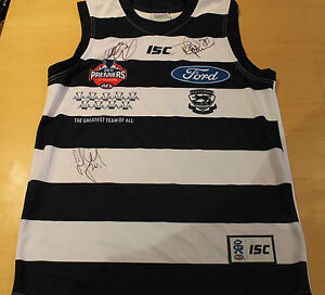 GEELONG-NORM-SMITH-MEDAL-JOHNSON-CHAPMAN-amp-BARTEL-SIGNED-JERSEY-UNFRAMED-C-O-A