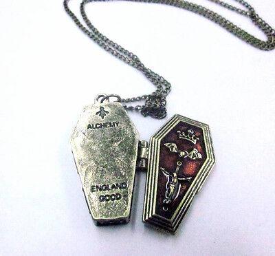 Vintage Copper Coffin Locket Pendant Vampire Bat Crown Cross Necklace Goth Punk
