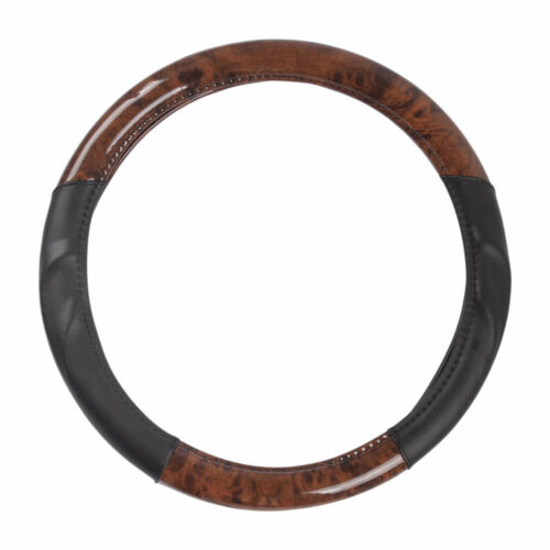 ACDelco Strong-Grip Premium Smooth PU Leather Steering Wheel Cover Dark Wood