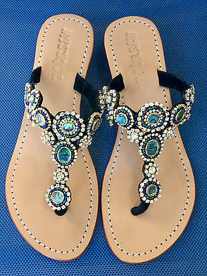 62ac5c706 MYSTIQUE Jeweled Calabasas Crystal Black Leather Thong Low Wedge Sandals 6   190