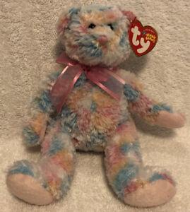 """Retired 2004 Ty Beanie Baby ~~ Twirls ~~ NWT ~ 8"""" Pastel Patchwork Bear Plush"""