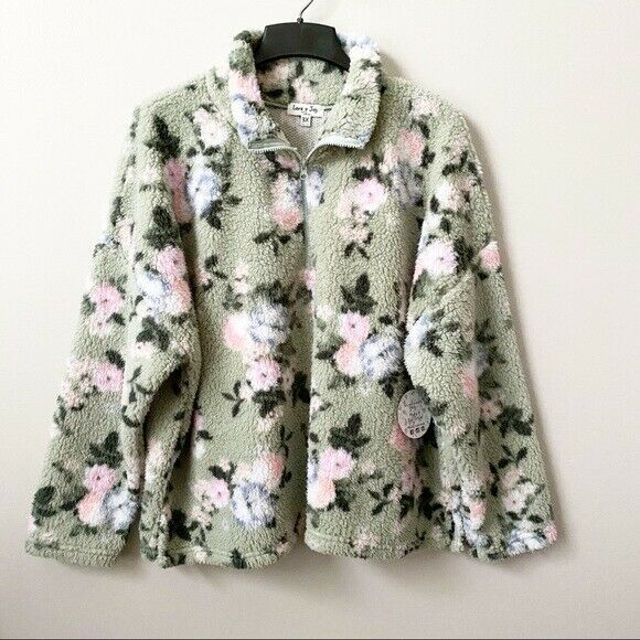 NWT Love + Joy by FCT Floral Plush Sherpa Pullover Plus ...