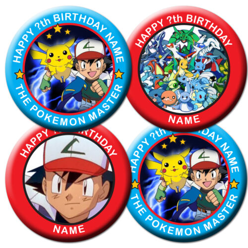 PERSONALISED POKEMON BIRTHDAY BADGE //MAGNETS//MIRRORS-58MM or 77MM