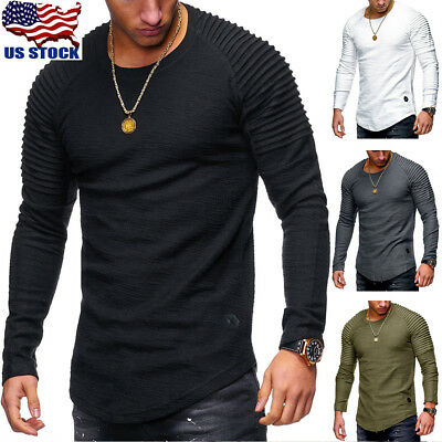 7 Colors Men Casual Slim Fit Solid Color Long Sleeve O//V Neck Cotton T-shirts