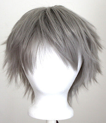 11/'/' Short Messy Spiky Silver Gray Synthetic Cosplay Wig NEW