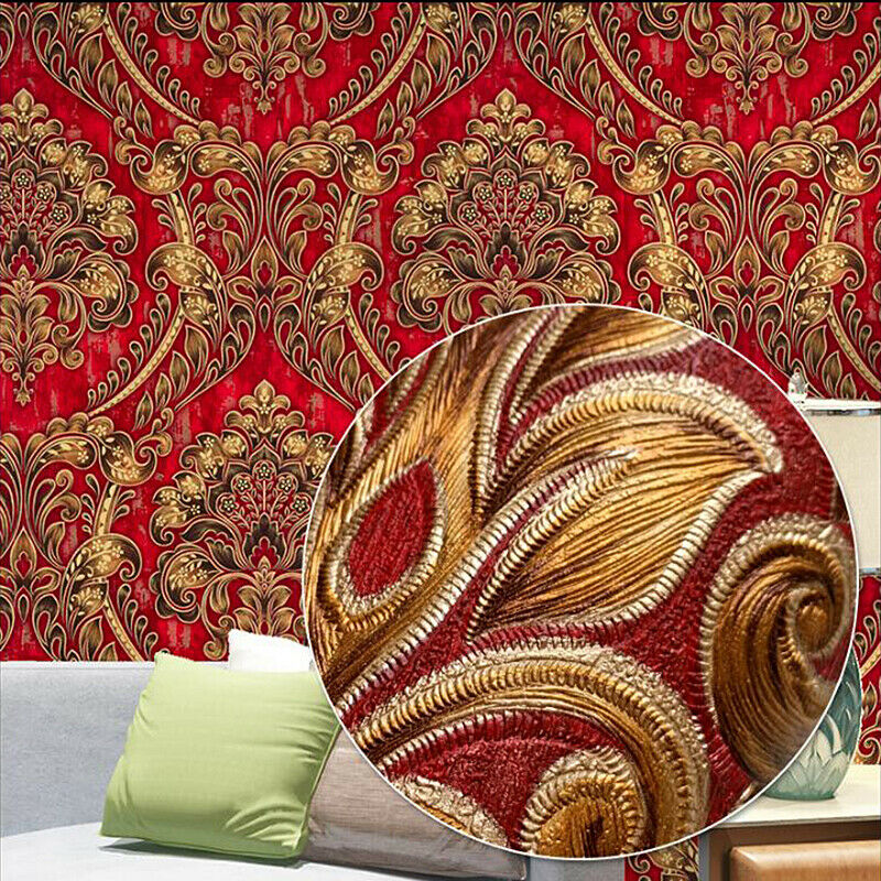 Embossed Textured Wallpaper Classic European Damask Roll 3d Wall Home Decor For Sale Online Ebay
