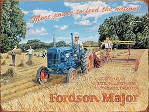 Fordson-Major-Tractor-Vintage-Clasico-granja-agricultura-Pequeno-Senal-metalica