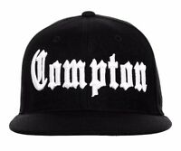 Black Compton Vintage Embroidered Hip Hop Fitted Flat Bill Cap Caps Hat Hats
