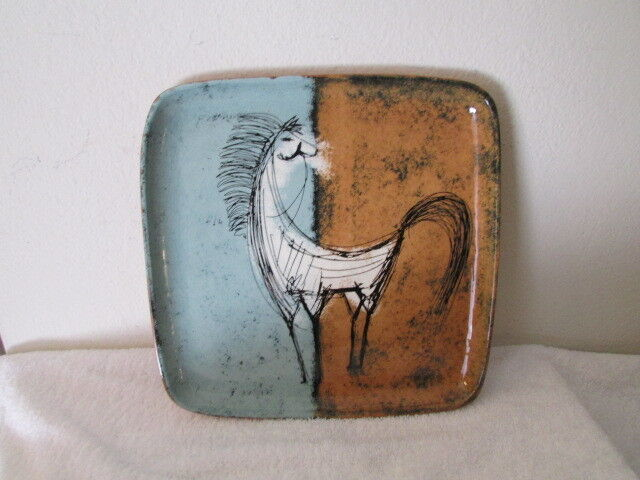 Vintage Rowley Clay Serving Plate Horse Figure Signed