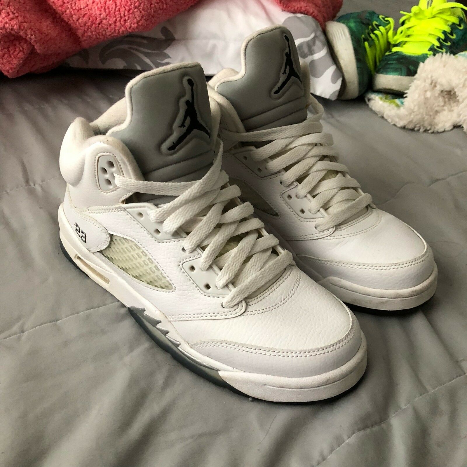Nike Air Jordan 5 White Metallic Comfortable New shoes for men and women, limited time discount