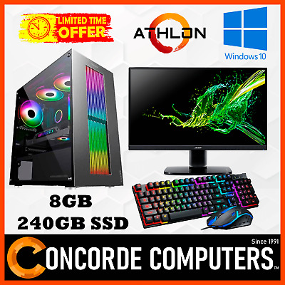 Details about  AMD 200GE 8GB RAM 240GB SSD 24″ Monitor Gaming Computer System Office Desktop PC