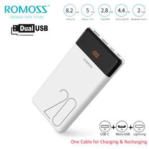 Romoss 20000mAh Powerbank USB-C 2USB Zusatzakku Batterie Ladegeräte Für Handys