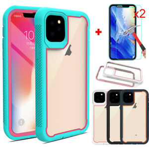 For-iPhone-11-Pro-Max-Rugged-Armor-Case-Clear-Heavy-Duty-With-Screen-Protector