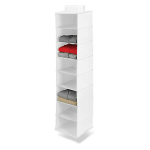 Household Closet Storage 8 Shelf Hanging Organizer Sweaters Pants Holder White^