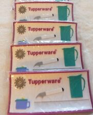 "Tupperware 4 x Magnets Set  Advertise Name Number. Thick. 5""x2.5"" Rare Logo New"