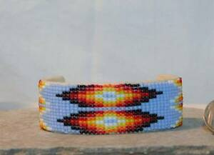 Hand-BEADED-Cuff-Bracelet-Buckskin-Leather-1-034-Native-American-Indian-Jewelry-A