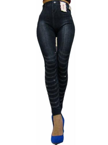 Damen Jeans Optik Leggins Hochbund Bauchweg Leggings Miederhose Leggins Gr 36-42