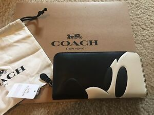 the latest b86c6 733b0 Details about NWT Coach x Disney Mickey According Zip Wallet In Glovetanned  Leather F54000 Bag