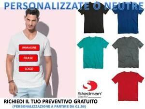 eae33f3bbc Dettagli su t-shirt maglietta uomo scollo a v stedman cotone slub fiammata  personalizzabile