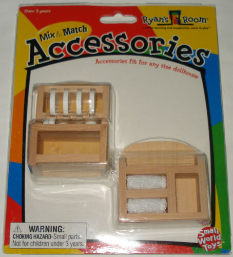 RYAN/'S ROOM MINI DOLLHOUSE FURNITURE WOODEN KITCHEN DISHES /& TOWEL RACK TOY SET