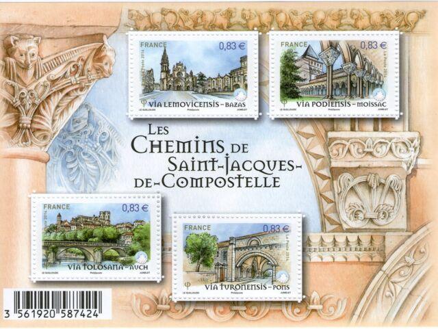 FEUILLET F4838 NEUF XX  LUXE - LES CHEMINS DE ST JACQUES DE COMPOSTELLE  2014