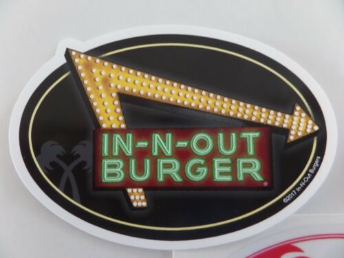 """IN-N-OUT BURGER /""""NEON/"""" STICKERS /""""PALM TREES/"""" DISCONTINUED BUMPER STICKERS"""
