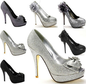 Ladies-Sparkle-Corsage-Glitter-Bow-Platform-Wedding-Formal-Evening-Shoe