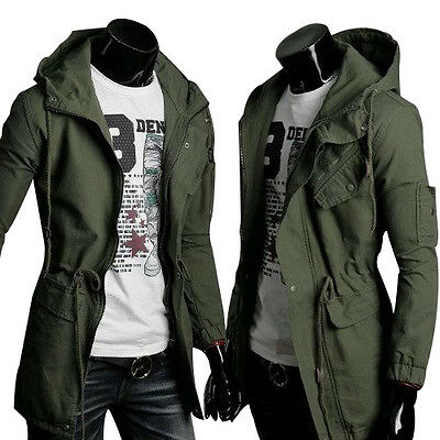 Fashion Mens Casual Hoodie Jacket Slim Fit Trench Coat Sexy Outwear Military Top