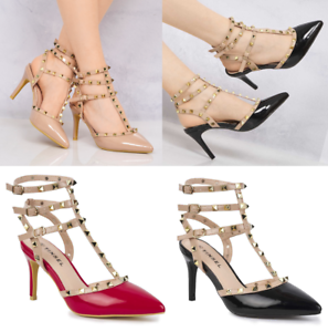 Women-Pointed-Toe-Studded-T-Bar-3Strap-Patent-Stiletto-High-Heel-Court-ShoesUV31
