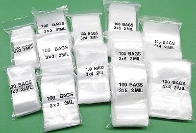 ASSORTED ZIPLOCK BAGS 1200 CLEAR 2MIL POLY BAGS 5 SIZES  2x3 TO 4x4 ANNETTES SPL