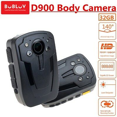 32GB Police Camera Hands Free Police Body Security Worn Camera D900 HD 1080P QF
