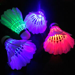 4 Pcs LED Glowing Badminton Shuttlecock Glow In Night Outdoor Sport Accessories