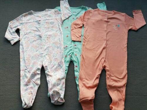 3 x Schlafanzug Pyjama Strampler Seestern Seepferdchen Muschel Langarm 80 86 92