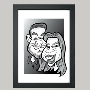 2 Person Digital Caricature From Photo - Monochrome - Digital File -Personalised