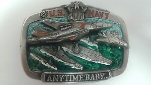U-S-Navy-Anytime-Baby-Metal-Belt-Great-American-Buckle-Company-Military-Casual